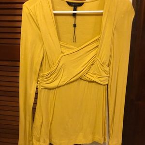 Mustard long sleeve stretch Blouse